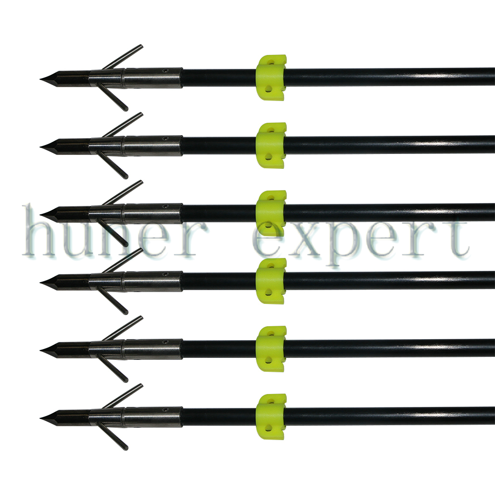 Bowfishing fiberglass arrow 250 spine fletched arrow nocks with bow fishing broadhead 6pcs for recurve bow