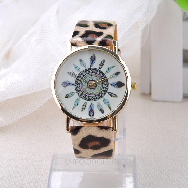 Indian Ethnic Style Retro Totem Feather Fashion PU Leather Strap Analog Watch Casual Gold Plated Quartz Wristwatch LS*USMPJ119(China (Mainland))