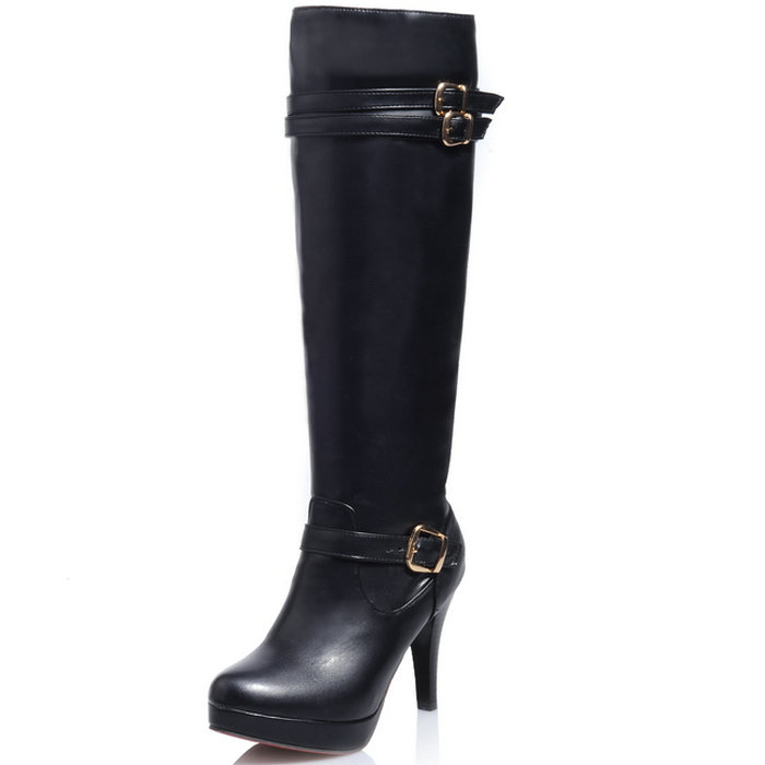 zapatos mujer Woman Knee High Boots Ultra thin Heel Buckle Design Red Buttom High Heels Autumn Winter Women Shoes Knee Boots