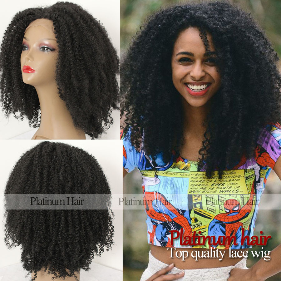 Top Quality 180% Density Fiber Kinky Curly Wigs Synthetic Lace Front Wig Black Color Afro African American Synthetic Hair Wigs(China (Mainland))