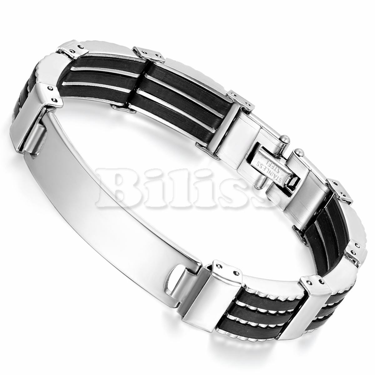 "8.5"" Trendy Male ID Bracelet Men's Bracelet Cuff Wristband Bangle Silver Stainless Steel Black Silicone pulseira masculina(China (Mainland))"