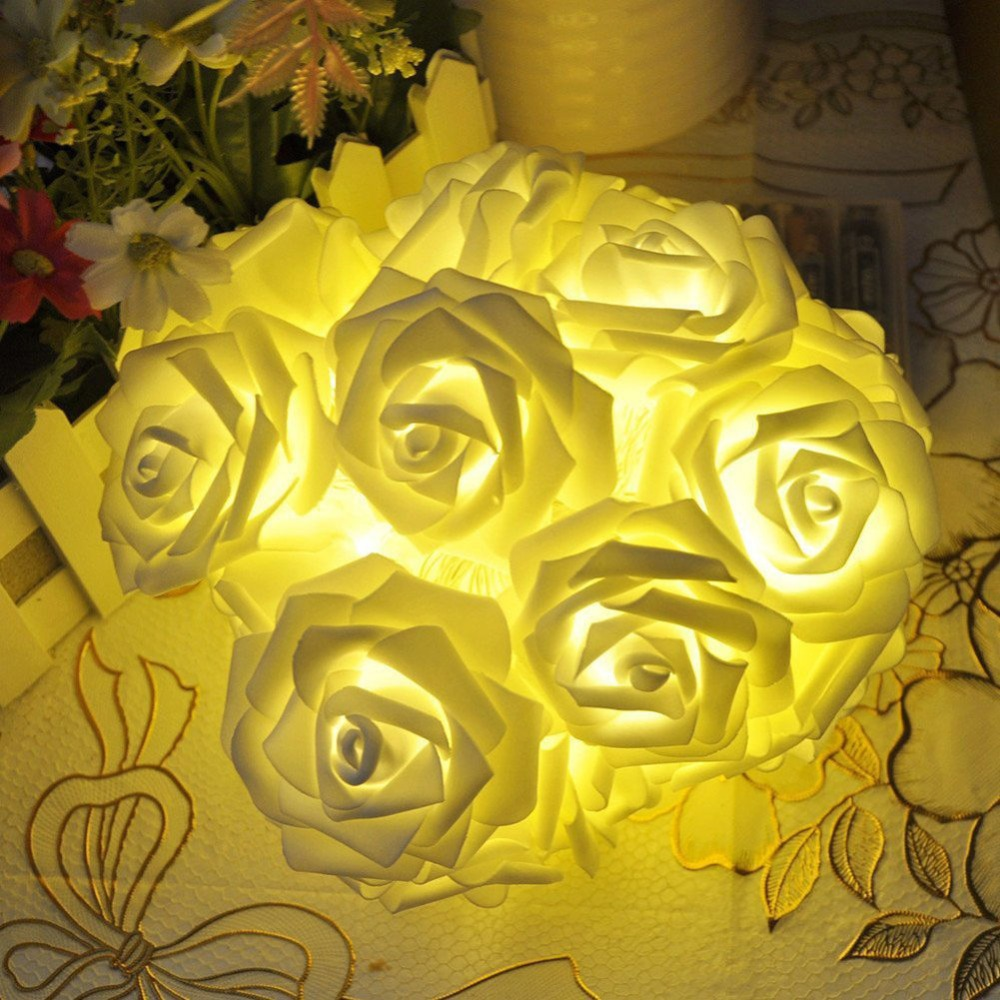 Battery operated 2M 20LED Rose flower blossom Fairy string light Christmas Wedding Party garland Decoration(China (Mainland))