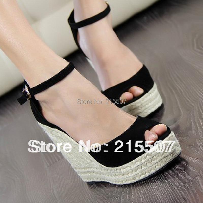 Size 30-43 ! ladies high heel sandals, summer women's open toe button straw braid wedges platform beach sandals - Boutique Special Store store