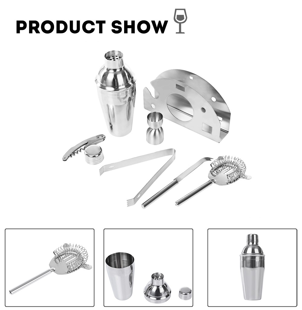 Buy 7pcs 550ml Professional Stainless Steel Cocktail Maker Shaker Jigger Ice Strainer Clip Cheese Knife Bottl cheap
