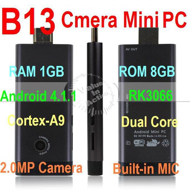 Latest B13 RK3066 Dual Core Mini PC Cortex-A9 1.6Ghz Android TV Box Built-in Bluetooth MIC 2.0MP Camera 1GB 8GB AV Output