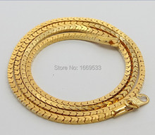 3MM ,70CM  men's jewelry, wholesale 24K yellow gold plated necklace for women,men, fashion jewelry,  box Chains necklace(China (Mainland))
