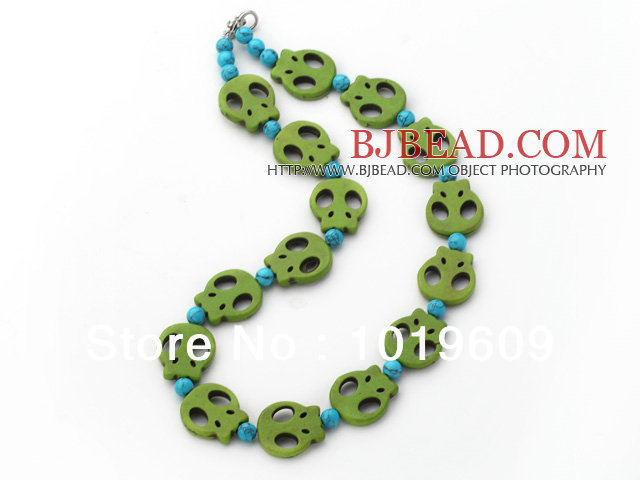 New Fashion 5 Pieces Long Turquoise Skull Necklaces with Lobster Clasp Free Shipping