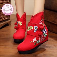 Botas de doble Mariposa de Las Mujeres 2016 Otoño Invierno Nueva Zapatos De Tela Bordada flor aumento de la transpiración Botas individuales(China (Mainland))