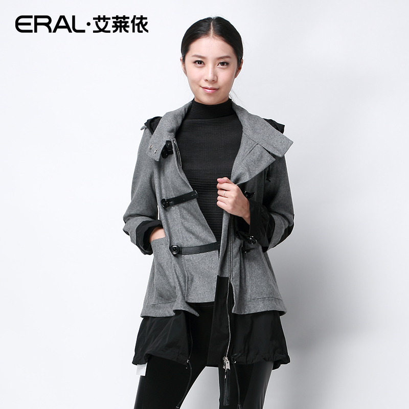 ERAL 2015 Spring New Arrival Fashion Womens Hood Outerwear Long-sleeve Patchwork Casual Medium-long Woolen Jacket NDW01006Одежда и ак�е��уары<br><br><br>Aliexpress