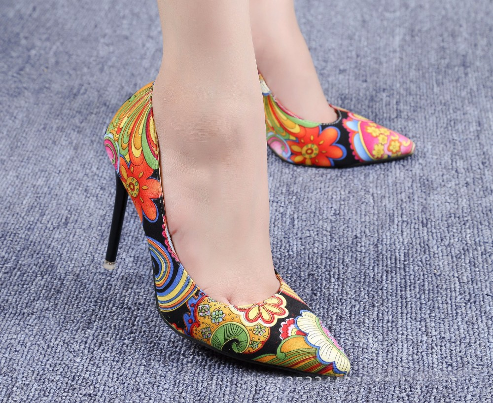 2016 New High-heeled Pumps Women Shoes High Heels Red Yellow Printing Shallow Mouth Thin Heel Pointed Toe Shoes For Women ZK3.5