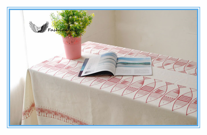 Abstract Cartoon Pink Fish The tablecloth Cafe table Coffee Table cloth Cotton kitchen Linen Tablecloths cover mzb026(China (Mainland))