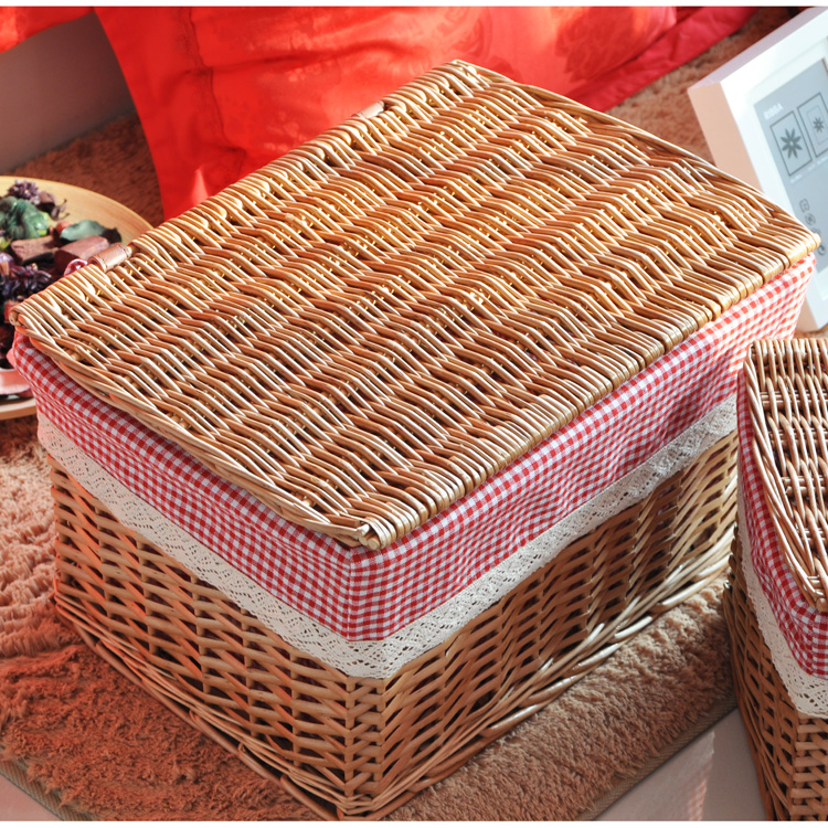 Free Shipping New Arrival Rustic Willow Storage Basket With Lid Large Clothing Wicker Laundry
