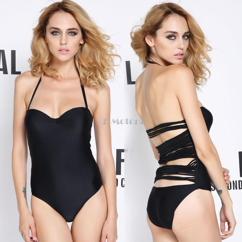 2014 new style big discount Sexy Black Women Straps Back Monokini Tassel Bathing Suit Swimwear One Piece #010(China (Mainland))