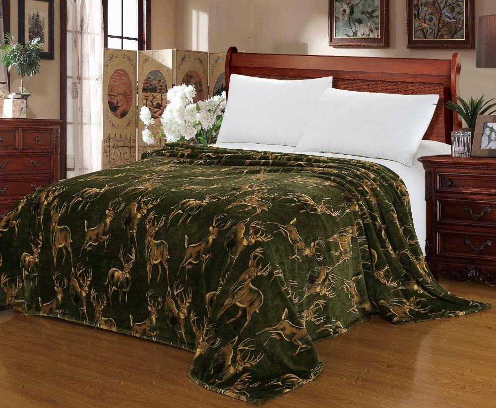 "Blanket Euphoria Brand Super Soft Warm Snug Plush Fleece Throw Sofa Couch Lounge Bed Wild Milu Deer World Queen Size 71"" X 80""(China (Mainland))"