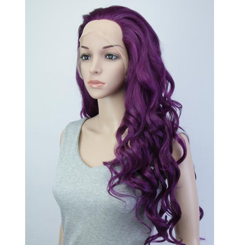 Synthetic Hair Dark Purple Lace Front Wig Heat Resistant Natural Looking Soft Long Curly Hairstyle Wigs For African American(China (Mainland))