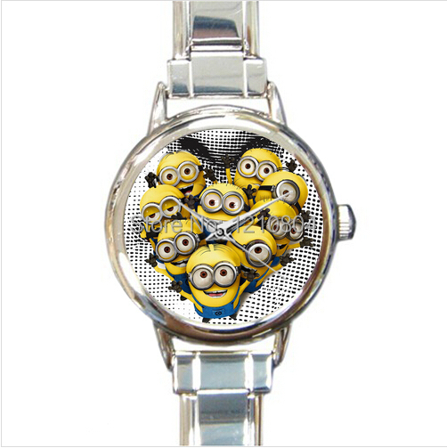 POOKOO!! MORE TYPES!! Despicable Me Minion Cartoon Movie Men Women Children Top Quality Fashion Stainless steel Watch Good gift(China (Mainland))