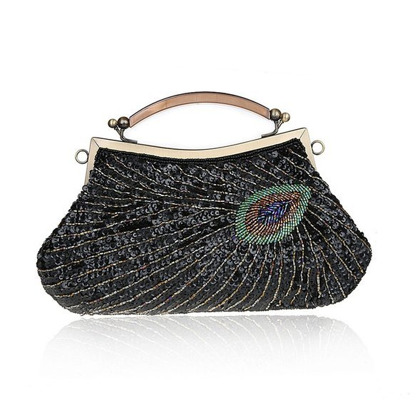 Bright Lady Retro Style Handbag Glittering Sequin Peacock Feather Pattern Purse Evening Bag,Black(China (Mainland))