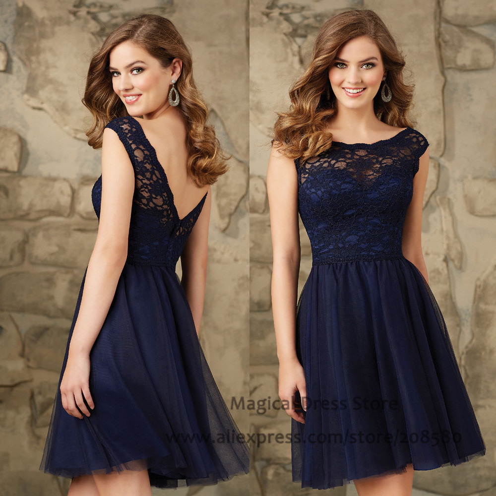 Modest short navy blue bridesmaid dresses lace abiti for Wedding guest lace dresses