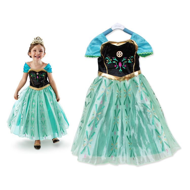 2015 Child Summer Princess Anna Elsa Dresses Children Kids Girls Baby Clothing Fashion Party Cosplay Costume Fancy Dress - ZO trading store