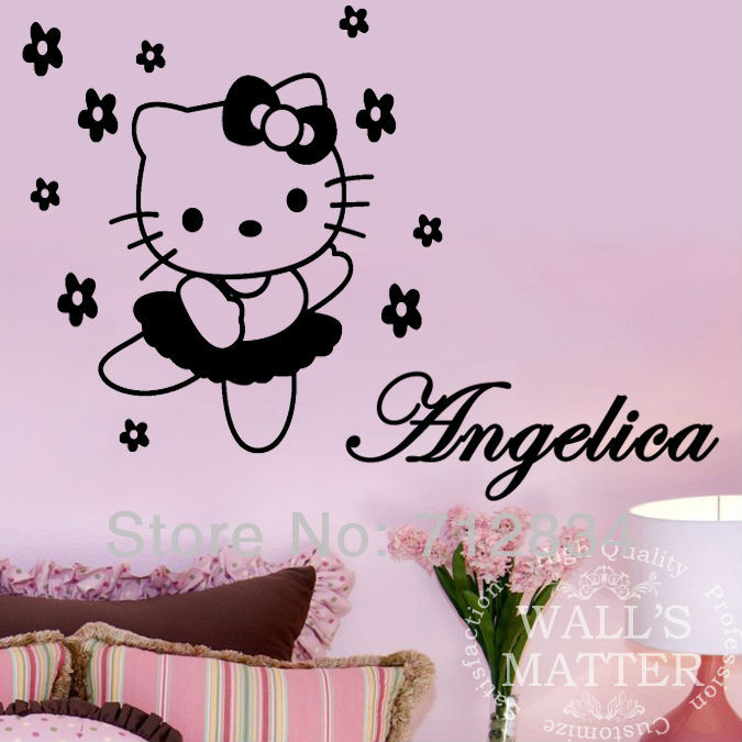 [B.Z.D] Free Shipping DIY Hello Kitty Personalized Name Art Decals Home Part 98