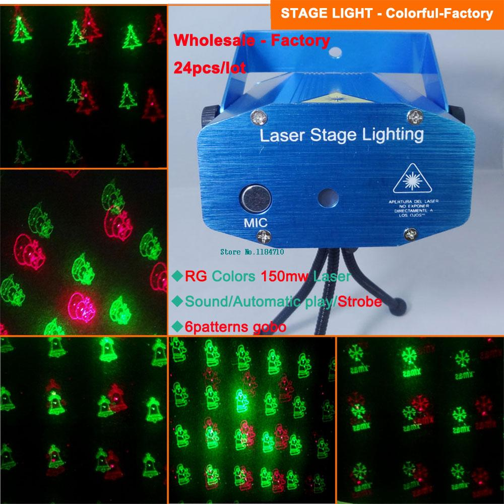 wholesale red green 6 patterns Laser projector Christmas Holographic dance Disco bar Party DJ effect Stage Light Show d120 dhl(China (Mainland))