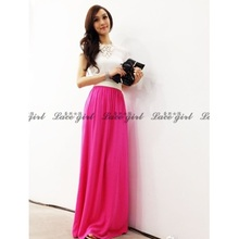 Free shipping 2016 summer Chiffon Maxi high-quality pleated high waist skirts for womens tulle ladies long skirt