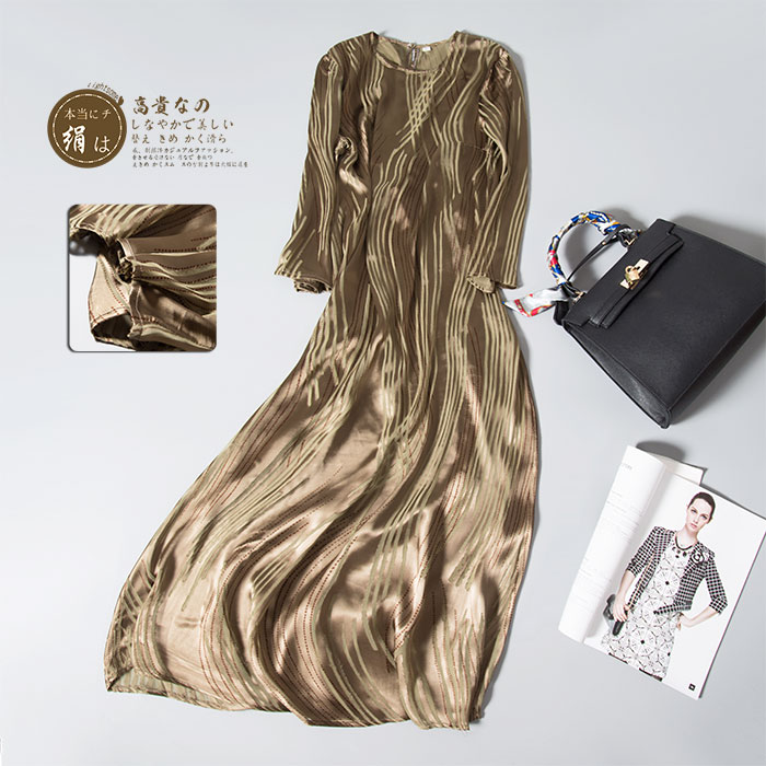 Advanced 2016 new arrival silk noble gold stripe long one-piece dress high quality maxi dresses brand designer dress gold(China (Mainland))