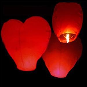 Wholesale 100 pcs/lot Pure Red Heart Shaped Chinese Sky Lantern & Wishing Lamp & Kongming Lanterns Wedding Party Free Shipping(China (Mainland))