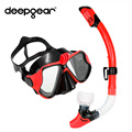Professional diving mask and snorkel set Top camera scuba mask to gopro Black silicone diving mask
