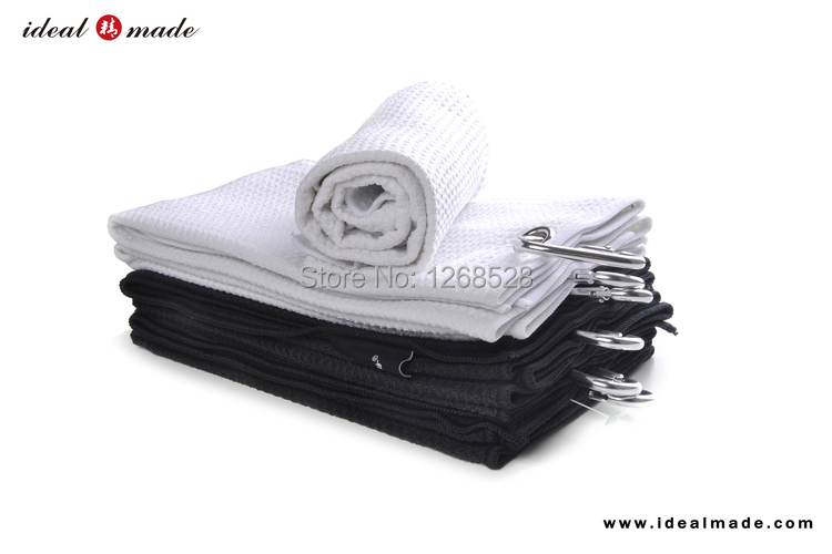 Medium Size Tri-Fold Golf Ball Towel Waffle Weave Black Yard-Dyed Carbiner Hook To Attach Your Golf Bag Guangdong Factory(China (Mainland))