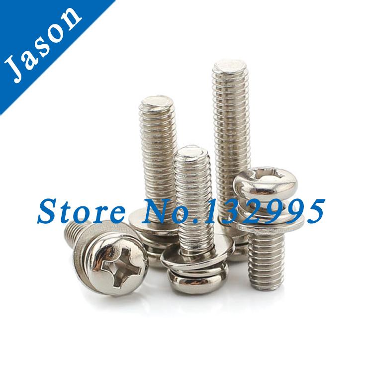 M2.5*8  Carbon steel Nickel Plated Three Combine Screw Three sem screws with washer attached Carbon steel triad screw M2.5*L<br><br>Aliexpress