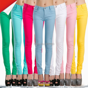 womens pants skinny pants,size XS~XXL candy colored stretch cotton long trousers disco pants,pantolon femme