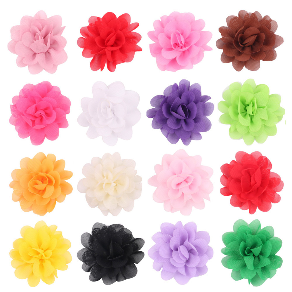 5CM Mini Tulle Chiffon Flowers For Headbands Girls Hair Accessories Flat Back 20 Colors 50PCS/LOT Free Shipping(China (Mainland))