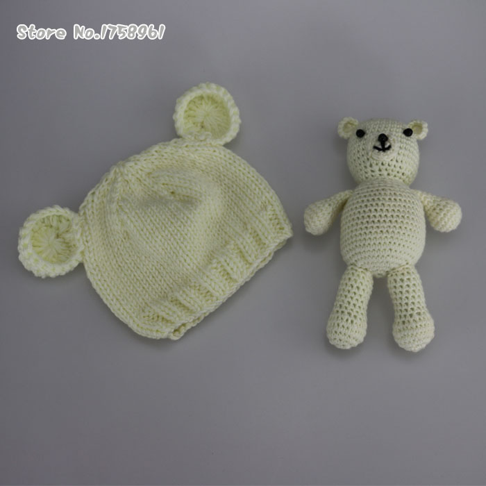 Knitting Pattern For Teddy Bear Hat : Hand Crochet Knitted Baby Hat Teddy Bear Bonnet Photography/Photo Prop , newb...