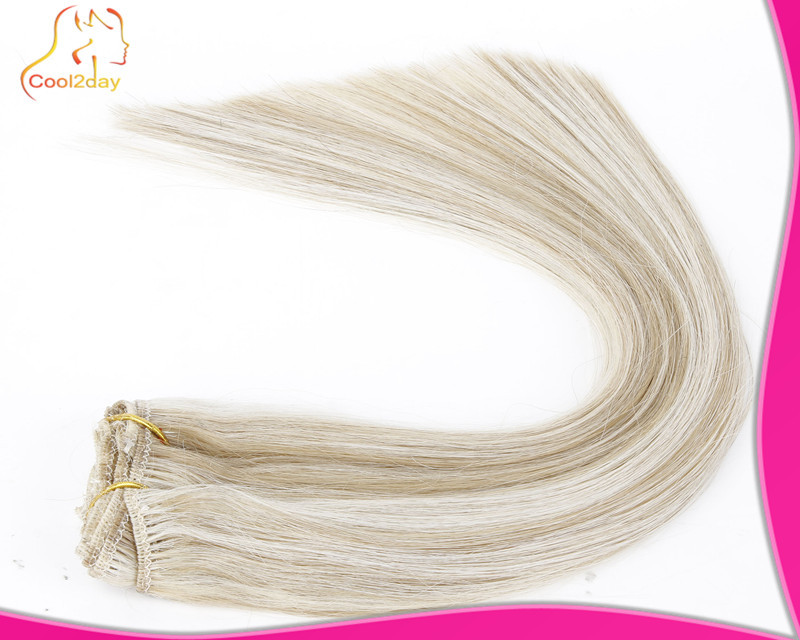 Гаджет  100% Brazilian Remy Hair Clip In Hair Extension/Natural Hair Extension Full head mixed color 12/613 # for fashions women None Волосы и аксессуары