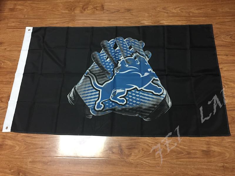 Detroit Lions Glove 3x5 ft flag 100D Polyester flag 90x150cm NFL custom american football gloves flag(China (Mainland))