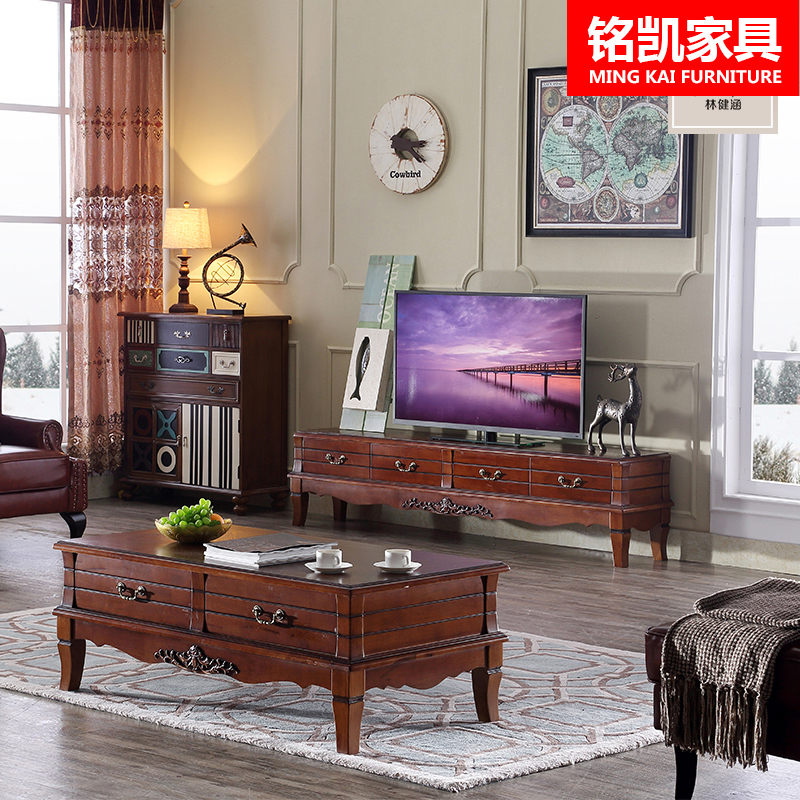 American Country Wood Coffee Table Tv Cabinet Combination