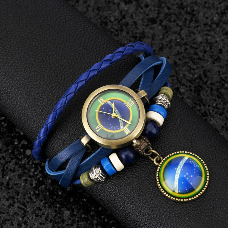 Fashion Quartz-watch Women Handmade Knitted Leather Watchband Pendant Charms Watch YD0723  -  Coolcastle store