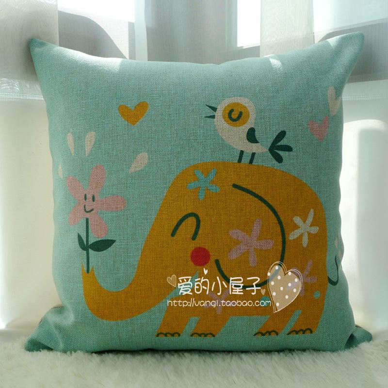 Decorative Pillows Funny : Birds and elephants Cartoon Series Linen Pillow Funny Home Cushions Cute Comfort Decorative ...