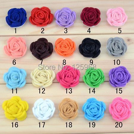 Free Shipping!2016 New 60pcs/lot 20colors Fashion handmade felt rose flower Diy for hair accessories headband ornaments(China (Mainland))