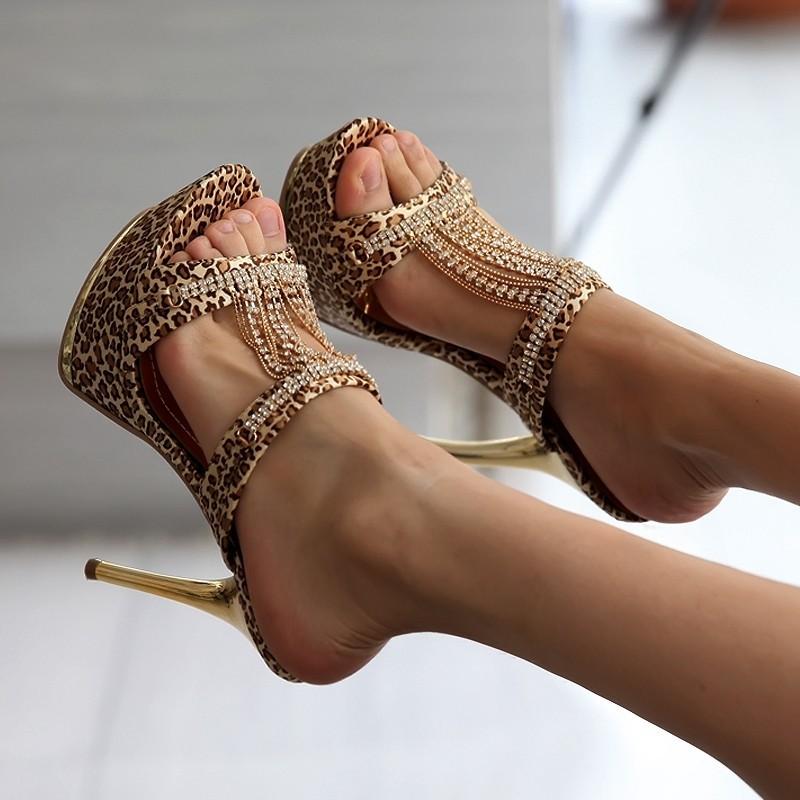 2017 New Arrival Gold Black Rhinestone Fashion Sexy High Heel Platform Summer Sandals Outside Female Womens Lady Slippers L695