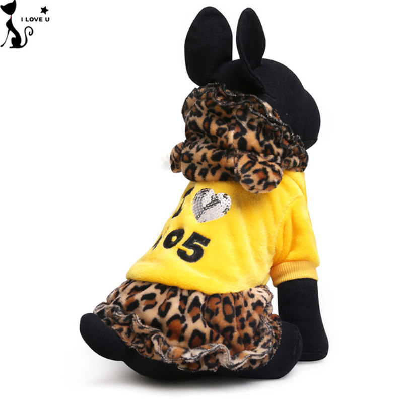 Pet Clothing Dog Skirt Winter Warm Sexy Dress Print Leopard Grain Dog Hoodies Coral Fleece Pet Costume For Small Large Dogs 061(China (Mainland))
