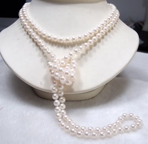 2015 (Min Order1)7-8mm White Pearl Shell Necklace Pearl Jewelry Gift Rope Chain Pearl Beads Natural Stone 46inch(Minimum Order1)(China (Mainland))