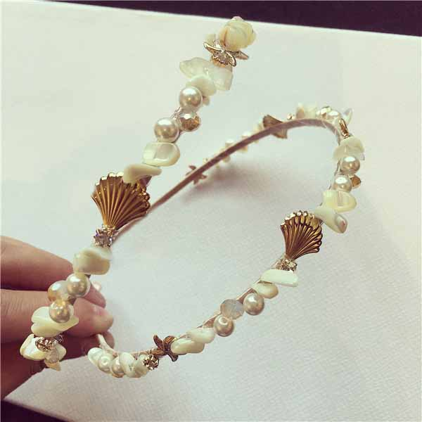 Fashion gold metal natural pearl starfish ocean wind shells hair bands headbands tiara woman hair accessories jewelry(China (Mainland))