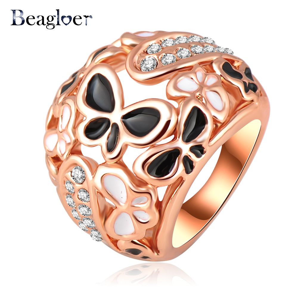 Beagloer Big Ring Costume Jewelry Rose Gold Plating Beautiful Enamel Butterfly Rings Micro Pave Austrian Crystals Ri-HQ0210(China (Mainland))