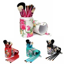 New 12PCS Pro Makeup Brushes Set Eyeshadow Powder Blusher Brush Beauty Cosmetic Tools Kit With Holder Cup Case Free Shipping