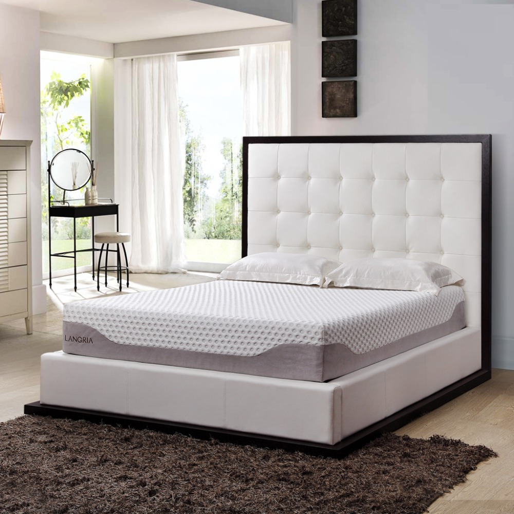 In Stock 10 inch 2016 LANGRIA A++ Best FireProof Gel Memory Foam Mattress US Bed Mattress Twin Full Queen King Size Optional(China (Mainland))