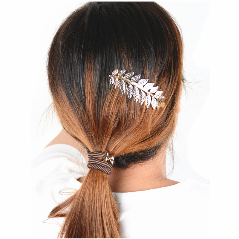 Jewdy 2016 Gold silver leaf HairPins Shears Clip For Hair Barrettes Headdress Vintage Simple women wedding hair jewelry(China (Mainland))
