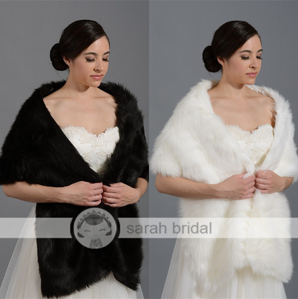 17005 In Stock wedding bridal wraps and shawls wedding accessories 2014 White Faux fur bolero women 2014 New Arrival(China (Mainland))