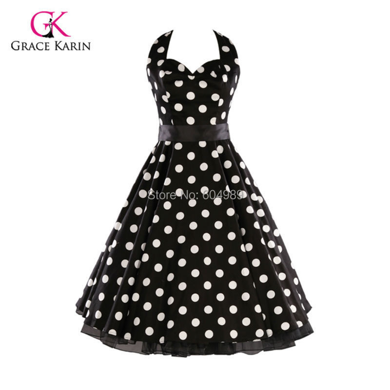 Cheap Women Summer Style plus size Retro Vintage Polka Dots 50s 60s Rock Roll ROCKABILLY Swing Pinup Dress vestidos femininos(Hong Kong)